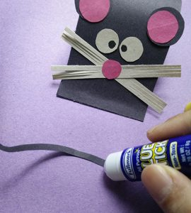 Paper mouse craft using all purpose glue stick and JEL pen